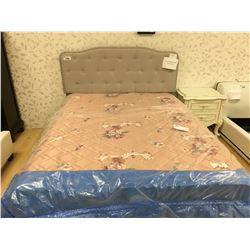BEST QUALITY FURNITURE FOG BEIGE FABRIC STUDDED QUEEN BED