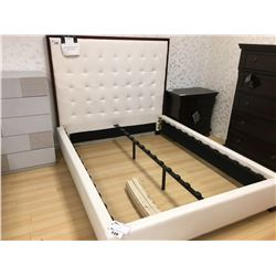 CHERRY FRAMED WHITE LEATHER QUEEN SIZE BED
