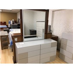 MODERN 2 TONE GREY 5 DRAWER DRESSER AND 8 DRAWER DRESSER WITH MIRROR