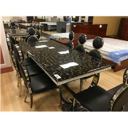 BLACK AND CHROME MARBLE TOP 9 PCS DINING TABLE SET INCLUDING: 8 MODERN BLACK LEATHER SIDE CHAIRS