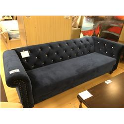 BLUE MICROFIBER JEWEL STUDDED 3 SEAT SOFA