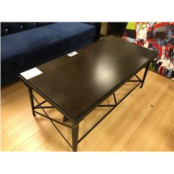 ASHLEY SIGNATURE DARK WOOD AND METAL COCKTAIL TABLE AND END TABLE