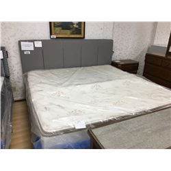 GREY UPHOLSTERED KING SIZED BED