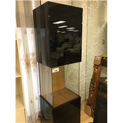 BLACK AND GLASS ILLUMINATED DISPLAY CABINET