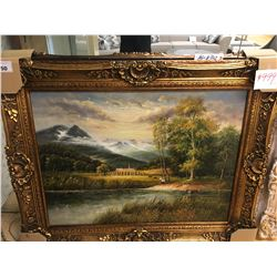 LARGE MOUNTAIN SCENE FRAMED ARTWORK
