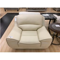 CREAM LEATHER MODERN STYLE ARM CHAIR