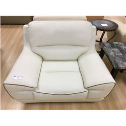 WHITE LEATHER MODERN STYLE ARM CHAIR