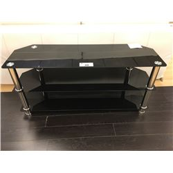 BLACK GLASS & CHROME 3 TIER ENTERTAINMENT CONSOLE