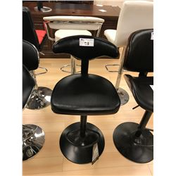 MODERN BLACK LEATHER AND DARK WOOD GAS LIFT BAR CHAIR
