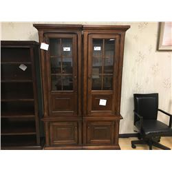 PAIR OF DISTRESSED WALNUT 2 DOOR ILLUMINATED PIERS