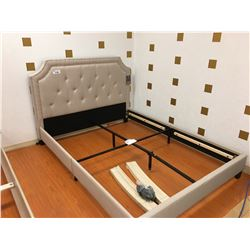 BEST QUALITY FURNITURE BEIGE FABRIC STUDDED B58 QUEEN BED