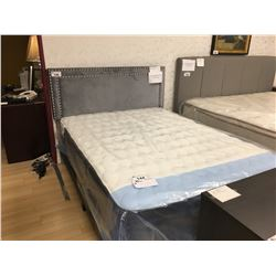 BEST QUALITY FURNITURE GREY MICROFIBER STUDDED QUEEN BED