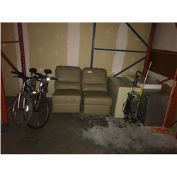 CONTENTS OF BACK ROOM INCLUDING: 3 METAL FILE CABINET, 2 LEATHER SECTIONAL PARTS, 2 BIKES & PRODUCTS