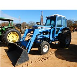 FORD 7710 FARM TRACTOR, VIN/SN:JA70Y04 - 3 REMOTES, FORD 777B FRONT LOADER ATTACH, BUCKET, CAB, A/C,