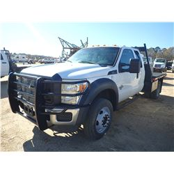 2012 FORD F550 FLATBED, VIN/SN:1FDDX5HTXCEB25372 - 4X4, EXT CAB, POWERSTROKE DIESEL EGNINE, A/T, 9'
