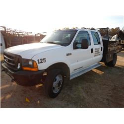 2000 FORD F450 FLATBED, VIN/SN:1FDXW46S6YED45315 - CREW CAB, V10 GAS ENGINE, A/T, 9' FLATBED BODY, T