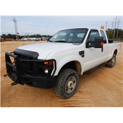 2008 FORD F250 PICKUP TRUCK, VIN/SN:1FTSX31558ED63127 - 4X4, EXT CAB, GAS ENGINE, A/T, ODOMETER READ