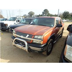 2004 CHEVROLET AVALANCHE, VIN/SN:3GNEK12T34G281717 - 4X4, GAS ENG, A/T, ODOMETER READING 256,350