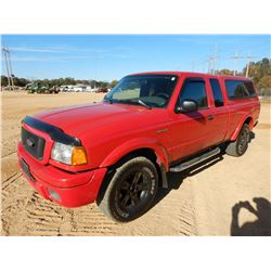2004 FORD RANGER PICKUP TRUCK, VIN/SN:1FTZR45EX4PA41239 - EXT CAB, GAS ENGINE, A/T, COVERED REAR BED
