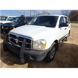 2006 DODGE DURANGO VIN/SN:1D4HD38N66F155024 - GAS ENGINE, A/T, ODOMETER READING 126,086 MILES