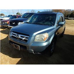 2007 HONDA PILOT VIN/SN:5FNYF285878042828 - GAS ENGINE, A/T, ODOMETER READING 242,728 MILES