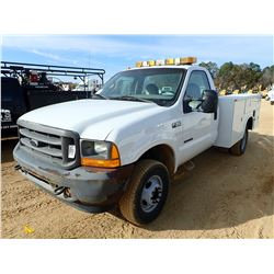 2001 FORD F350 SERVICE TRUCK, VIN/SN:1FDWF37F11EC39125 - 4X4, FORD POWERSTROKE DIESEL ENGINE, A/T, K
