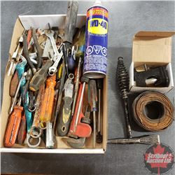Tray Lot: Variety of Hand tools. Including Screwdrivers, Wrenches, Mechanics wire, WD-40 etc.