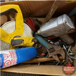 "Box Lot: Variety Tools. Including 200 ft Tape, Blow Torch, 1/2"" Drive Impact, Hammers, Pop Riveter,"