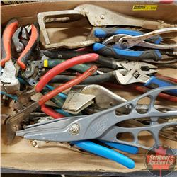 Tray Lot: Pliers, Vice Grips, Tin Snips and Side Cutters