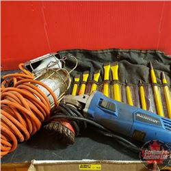 Box Lot: Angle Grinder, Set of Cold Chisels, 2 Trouble lights