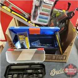 Box Lot: Variety of Screw and Drill Bits, Levels, and Palm Sander
