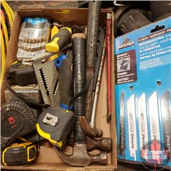 Tray Lot: Hammers, Drill Bits, Tape Measures, etc.
