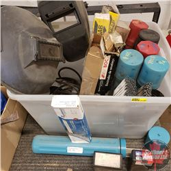 Tote Lot:  Variety of Welding rods and 2 Welding helmets. WOW!