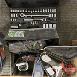 Tray Lot: Socket Set, Power bar, Mini Cordless Drill, etc.