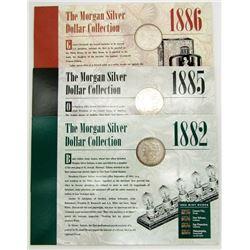 1885-O, 1886, 1882-S MORGAN SILVER DOLLARS