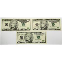 3-1999 $10 STAR NOTES / CONSECUTIVE #