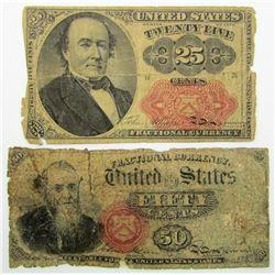 1866 50c FRACTIONAL & 1874 25c