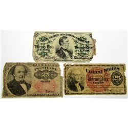 3-25c FRACTIONAL CURRENCY NOTES