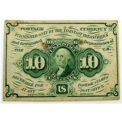 1862 TEN CENT POSTAL CURRENCY