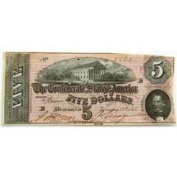 1864 $5 CONFEDERATE STATE of AM.