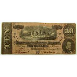 1864 $10 CONFEDERATE STATE of AM.