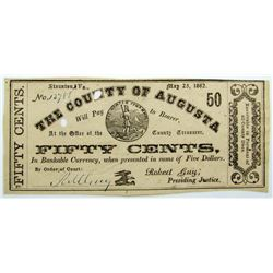 1862 FIFTY CENT COUNTY of AUGUSTA