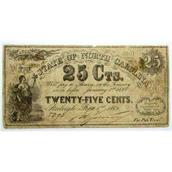 1866 25c STATE of NORTH CAROLINA