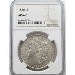 1886-P Morgan Silver Dollar $ NGC MS 62 Lightly To