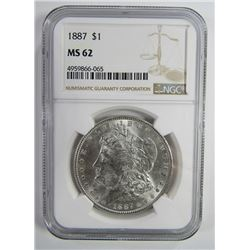 1887-P Morgan Silver Dollar $ NGC MS 62 Blast Whit