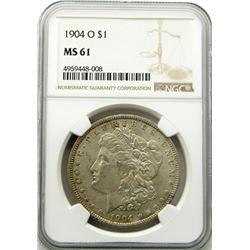 1904-O Morgan Silver Dollar $ NGC MS 61