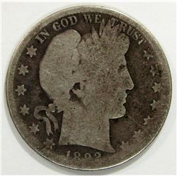1892-S BARBER HALF DOLLAR AG/G
