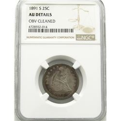 1891-S SEATED QUARTERS NGC AU DETAILS