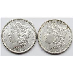 2-BU MORGAN DOLLARS; 1886 & 1887