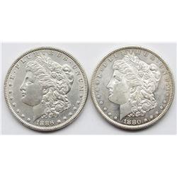 2-BU MORGAN DOLLARS;  1880-S & 1886